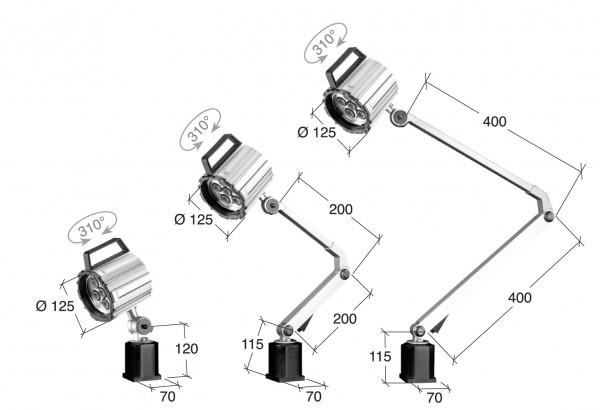 Arbeitsleuchte 100-240V, Armlänge 400 + 400 mm