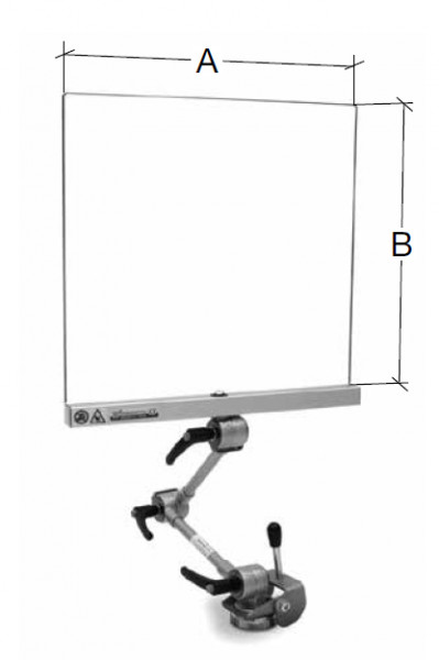 Schutzschild mit Magnetfuß, Gelenkarm 500 x 400 mm