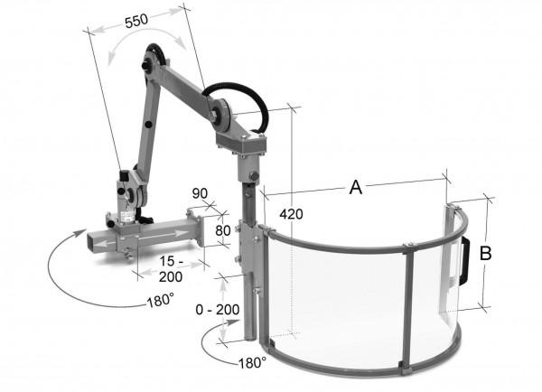 Schutzeinrichtung für Fräsmaschinen Ø 600 mm